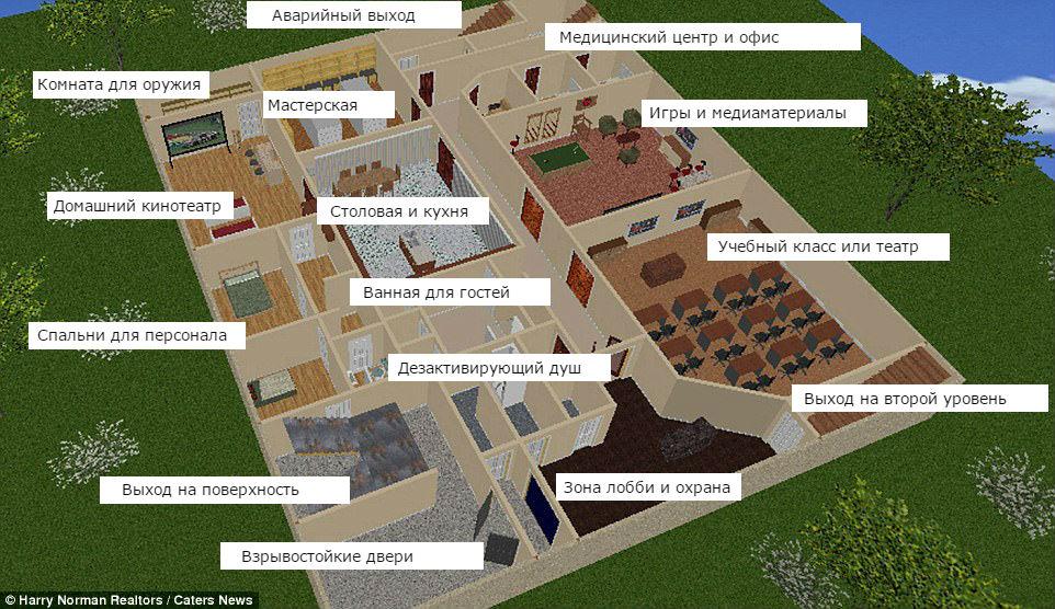 На первом уровне находятся помещения общего пользования, как в гостинице, в том числе домашний кинот