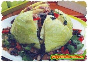 Капуста фаршированная мясом и грибами