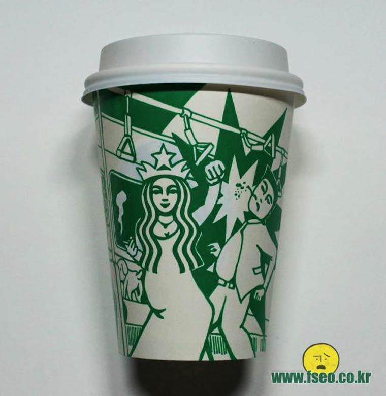 Starbucks Art - Quand l'artiste Soo Min Kim detourne les gobelets Starbucks