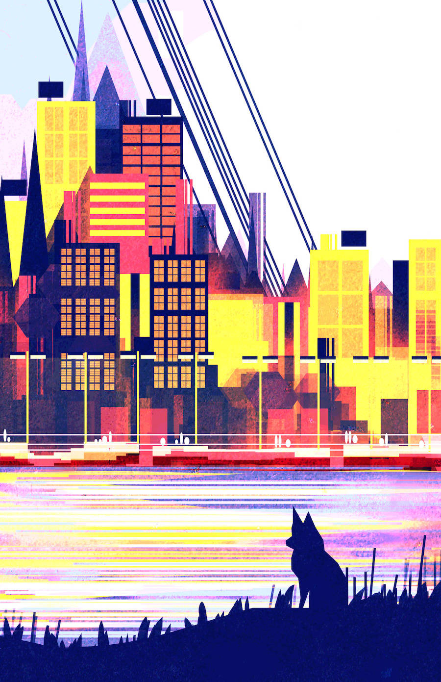 Geometric and Colorful 2D Illustrations of Cities