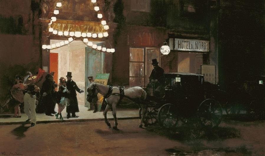 1885 (ок)_Выход с бала-маскарада (Salida del baile de mascaras)_49 х 80.5_картон, масло_Малага, музей баронессы Кармен Тиссен.jpg