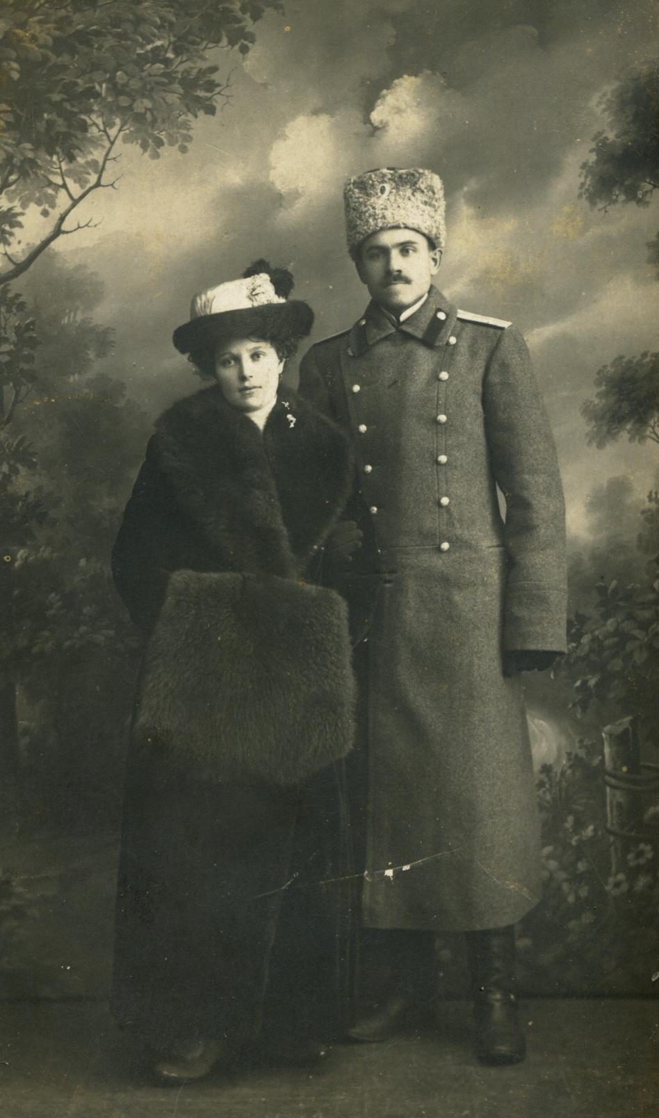 Аркадий Викторович Попов с женой Лидией. 20.03.1915
