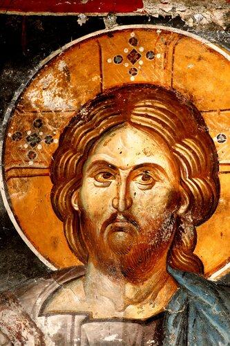 Христос Спас миру. Фреска церкви Святых Апостолов в Пече, Косово, Сербия. Около 1350 года. Лик.