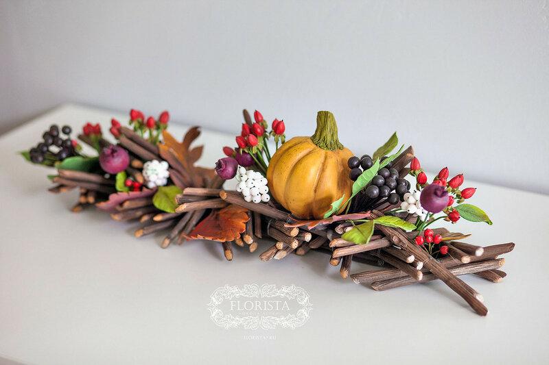 Фруктово-ягодное панно из японской глины.