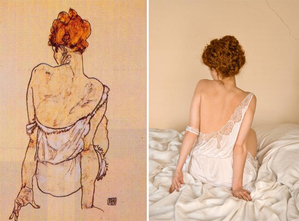 «Сидящая женщина, вид сзади», Эгон Шиле, 1913 год.