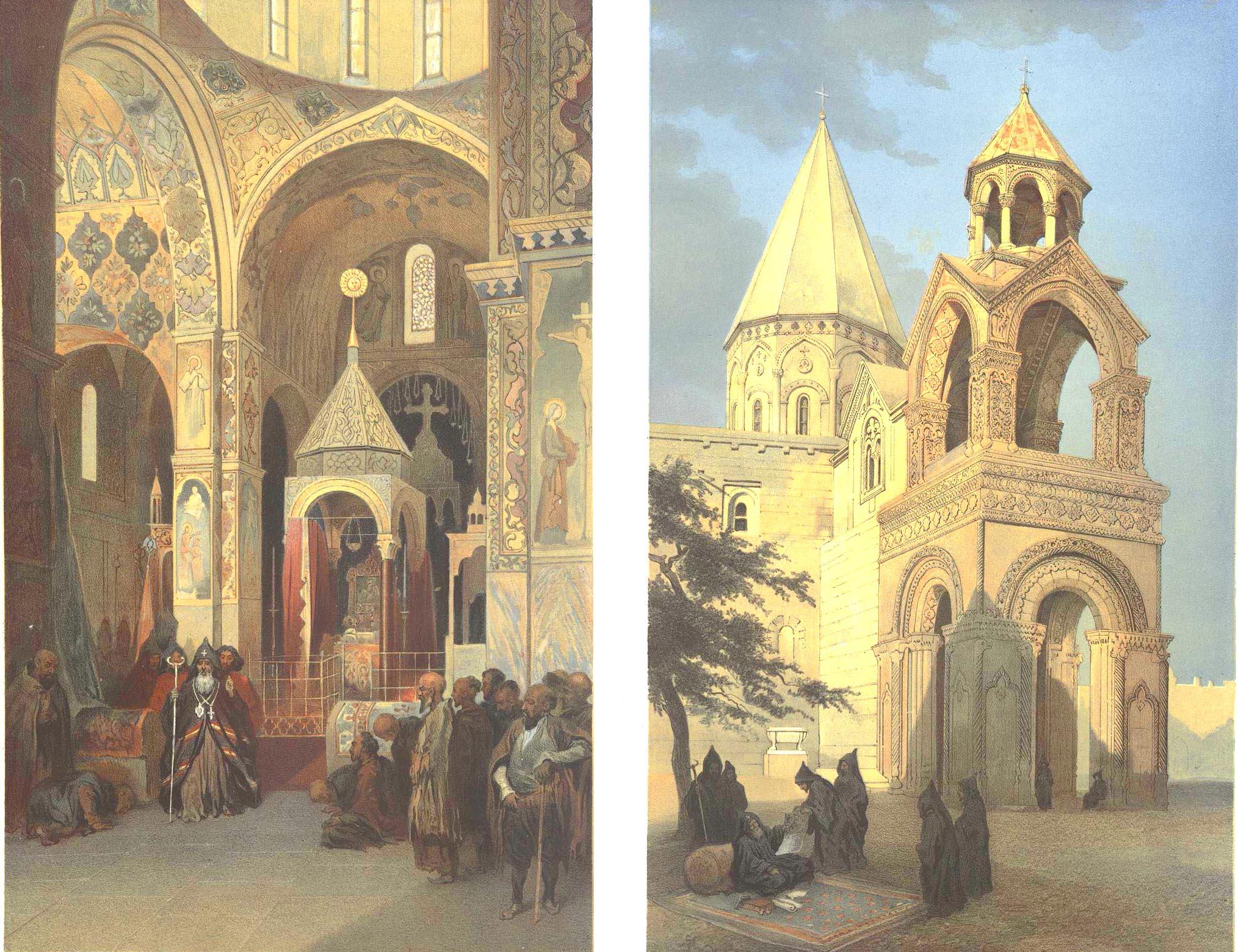"16. Armenie. Eglise d""Etchmeadzine (deux vues) / Армения. Эчмиадзинский монастырь (два вида)."