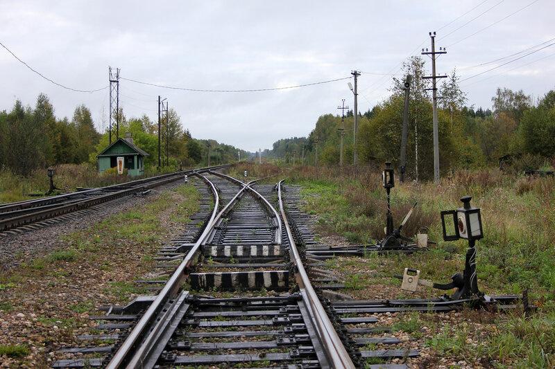 Начало Жарковской ветки. Станция Земцы. Левый путь - на Ржев, правый - на Жарковский.