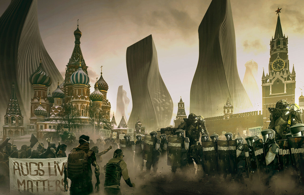 DeusEx Universe: Saint Basil's Cathedral on Red Square in Moscow 2029