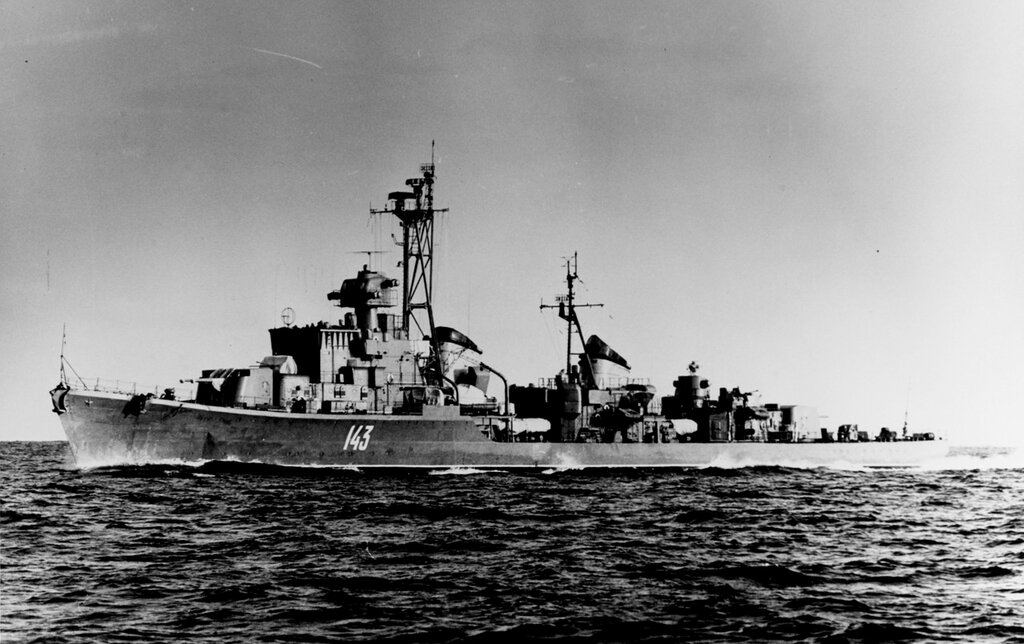 Soviet Baltic Fleet SKORYY Class Destroyer, photographed during mid-1959 in the Eastern Baltic Sea Area.