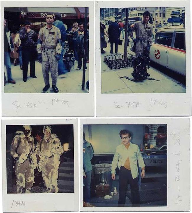 Билл Мюррей, Дэн Эйкройд, Эрни Хадсон и Айван Райтман на съемках «Охотников за привидениями».