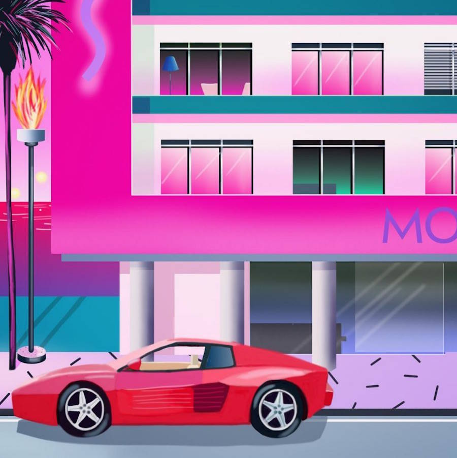 Vibrant Miami 80's Style Illustrations