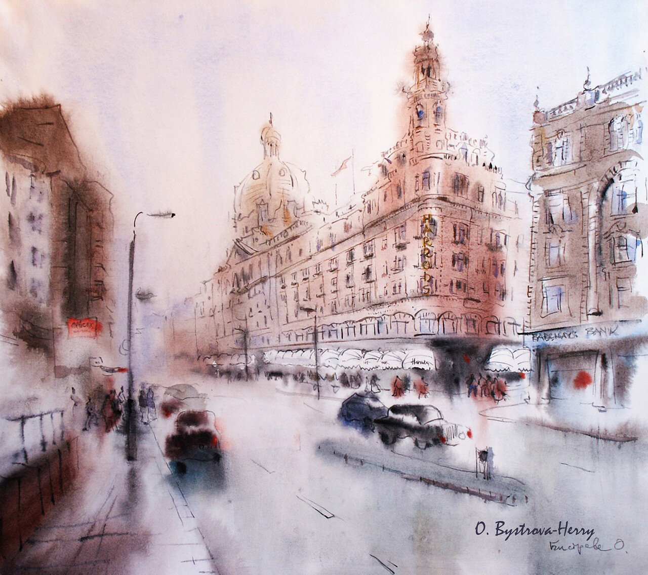 London HARRODS, aquarelle 57x55 cm