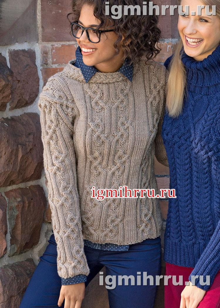 Теплый пуловер с арановыми узорами и воротником-стойкой. Вязание спицами