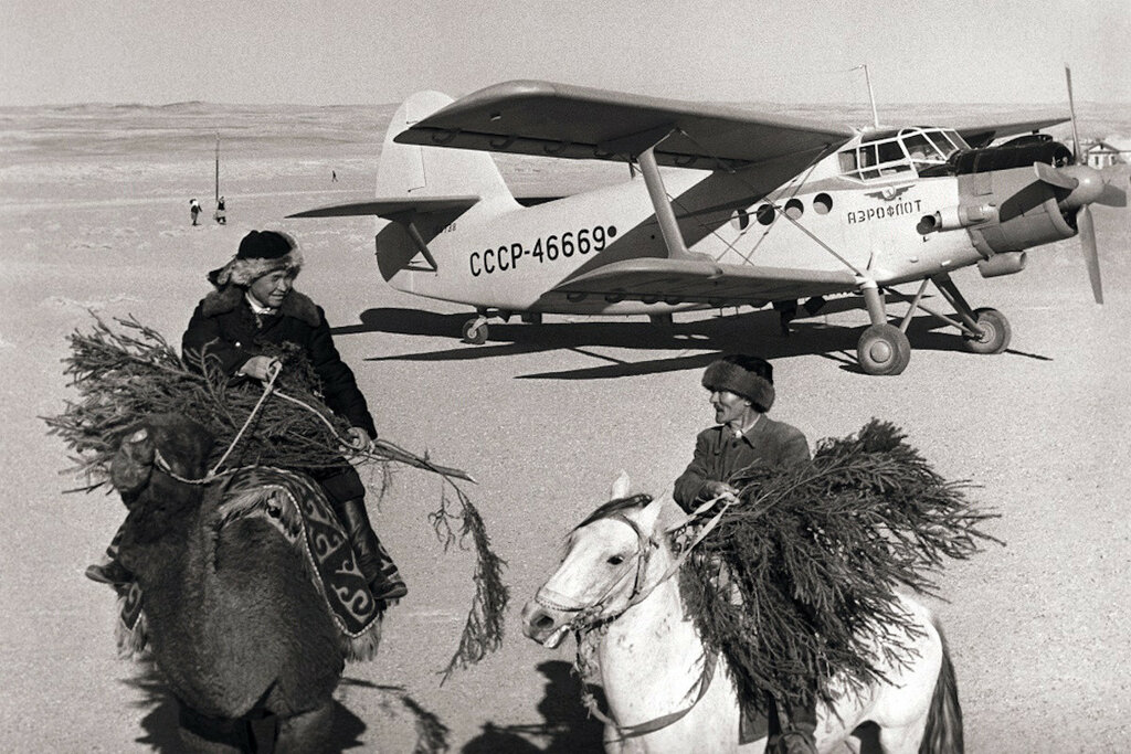 1965 Antonov An-2 aircraft delivered New Year trees to residents in Bukhara Oblast.jpg