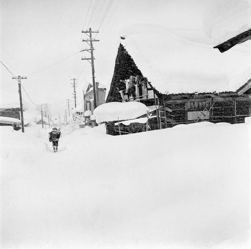 Snow Hiker in Village, 1950s Japan