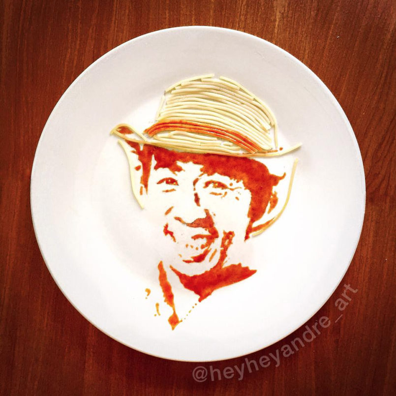 Pasta Portraits by Andre Manguba Filipino artist Andre Manguba uses his talent as a traditional illu