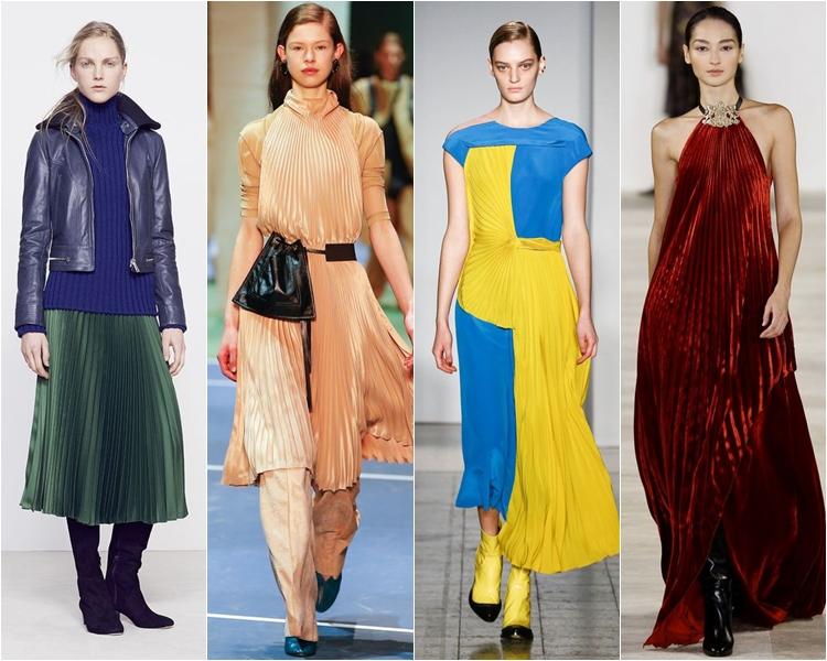 плиссированные юбки и платья, мода осень-зима 2016-2017