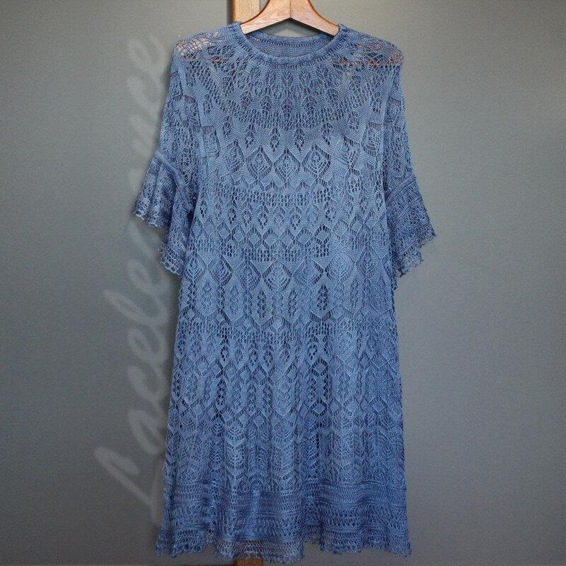 Lacelegance. Синее платье. Мастер-класс по вязанию. Инструкция по вязанию. Описание вязания. Вязание на заказ.