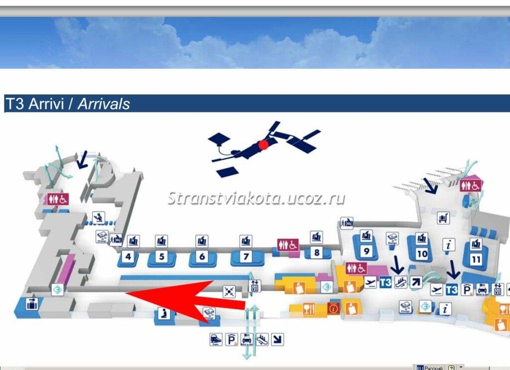 Аэропорт в риме схема терминалов на русском