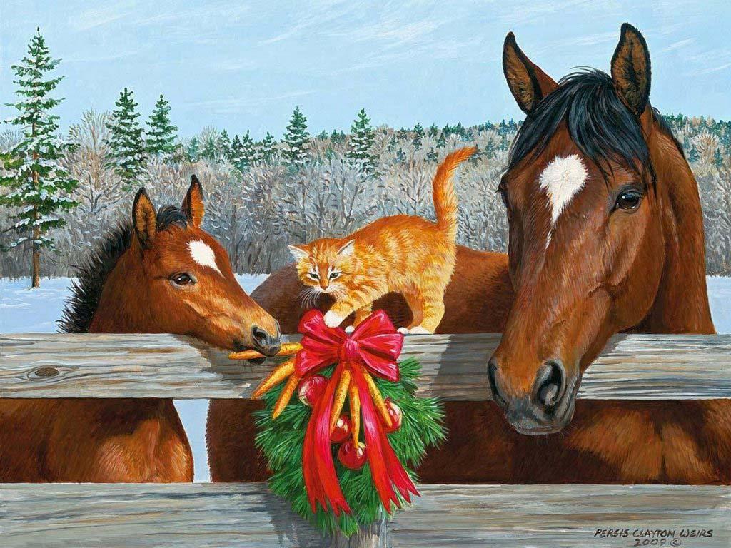 Открытки, новогодние картинки с лошадьми