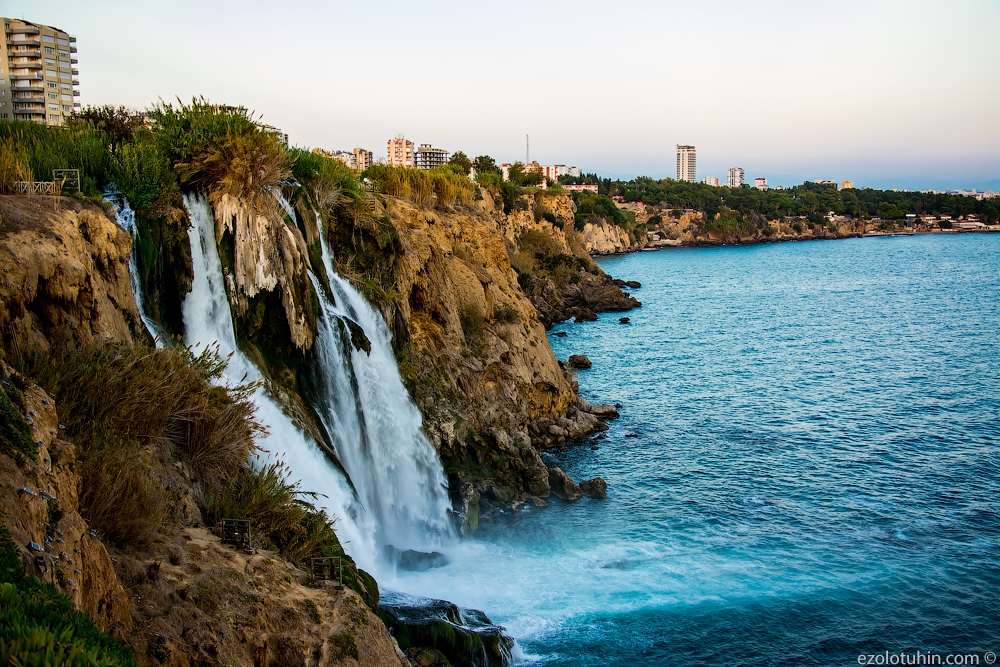The world's largest waterfall, flowing into the sea