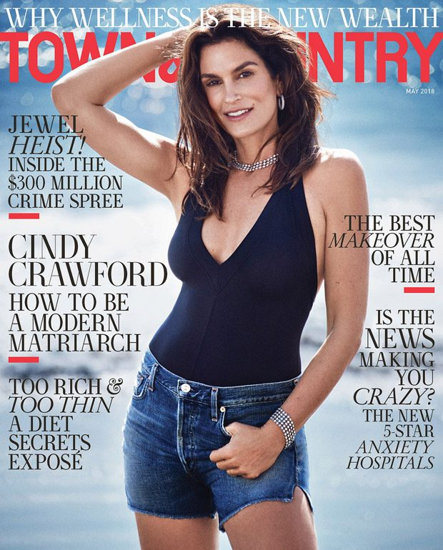 Supermodel Cindy Crawford Covers Town & Country May 2018 Issue (2 pics)