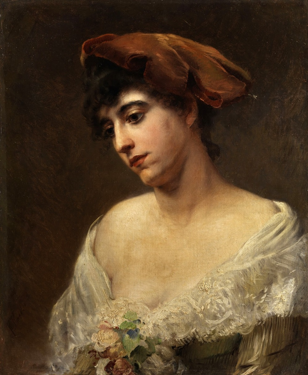 Молодая женщина в красном берете (Портрет жены художника Ю.П.Маковской) Частное собрание.