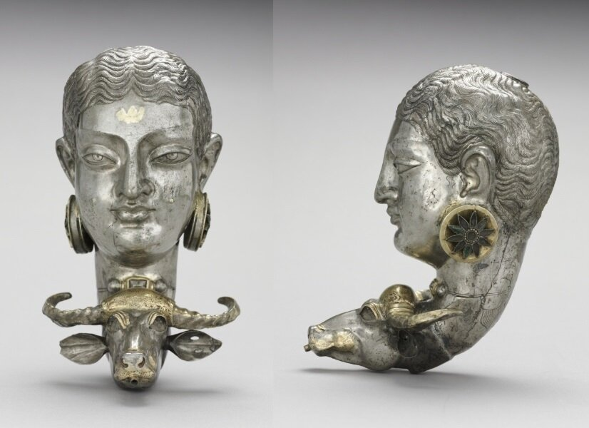Rhyton with the Buffalo-Slayer goddess, made in Iran in the 7th-8th century
