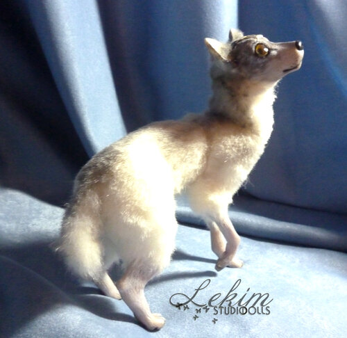 Белая волчица, авторская кукла Елены Ким