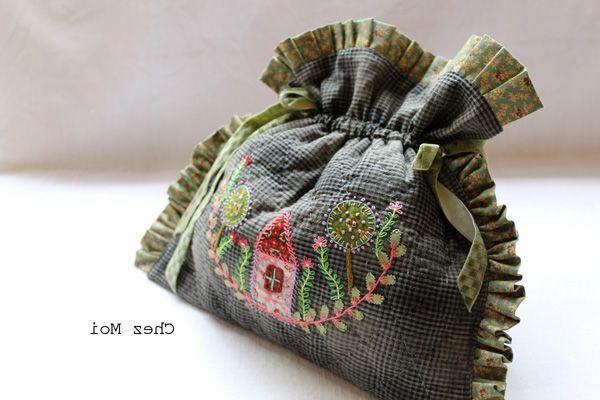 Мешочки и сумки вышивка гладью и лентами