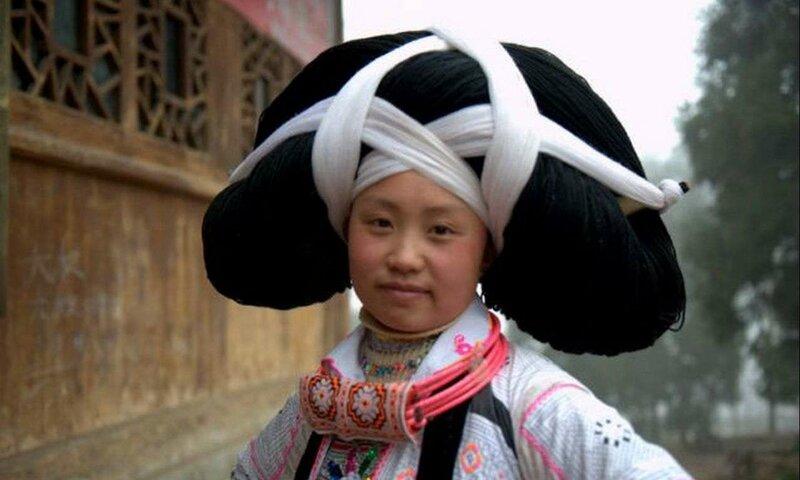 Лонг Хорн Мяо волосы головной убор