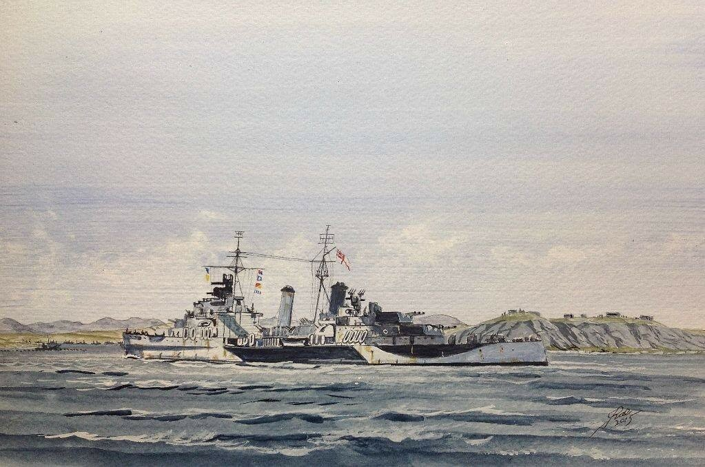 Busy Day , 1 aircraft 1ship. HMS Belfast entering Loch Ewe.