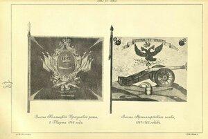 380 и 382. Знамя Калмыцкой Драгунской роты, 2 Марта 1748 года. Знамя Артиллерийского полка, 1757-1762 годов.