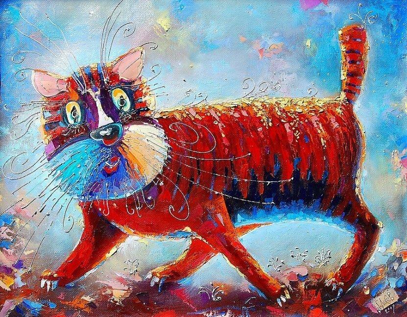 картинки со смешными котиками от одного художника