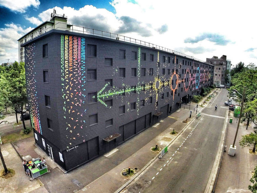 Mind-Blowing Mural Made with Origami Birds in Paris