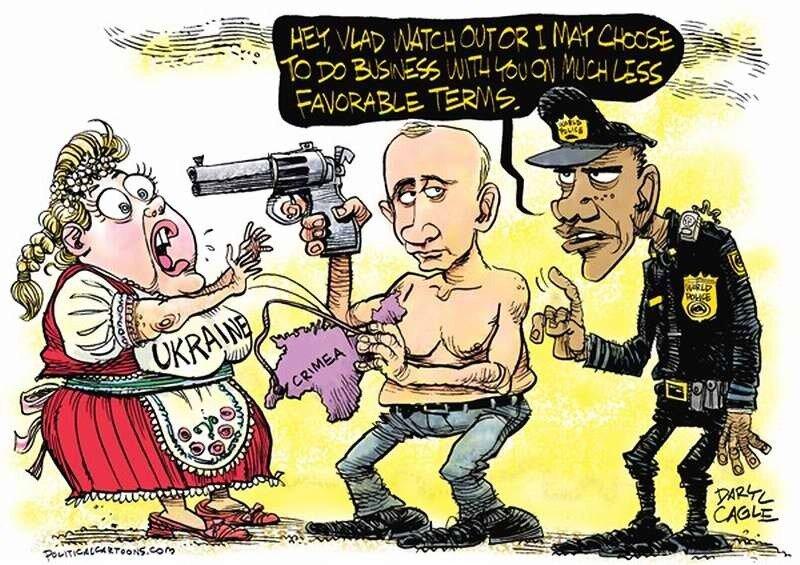 Бандит Путин отнимает у Украины кошелек (Daryl Cagle)