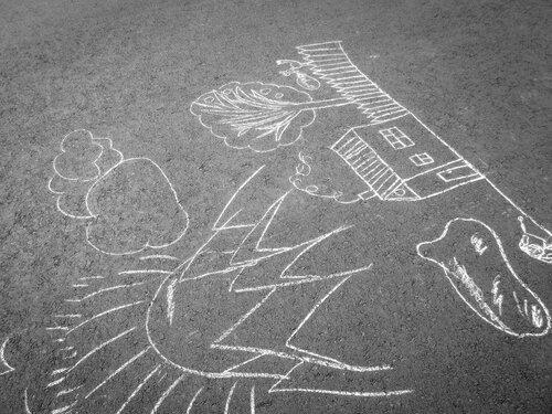 Крымские каникулы - рисунок на асфальте