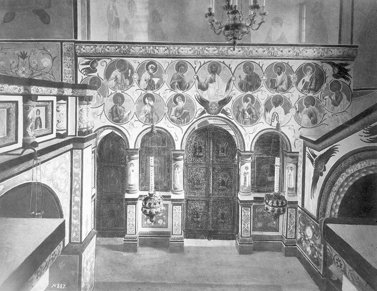 Успенский собор. Придел святого Леонтия. Вид иконостаса по возобновлении собора
