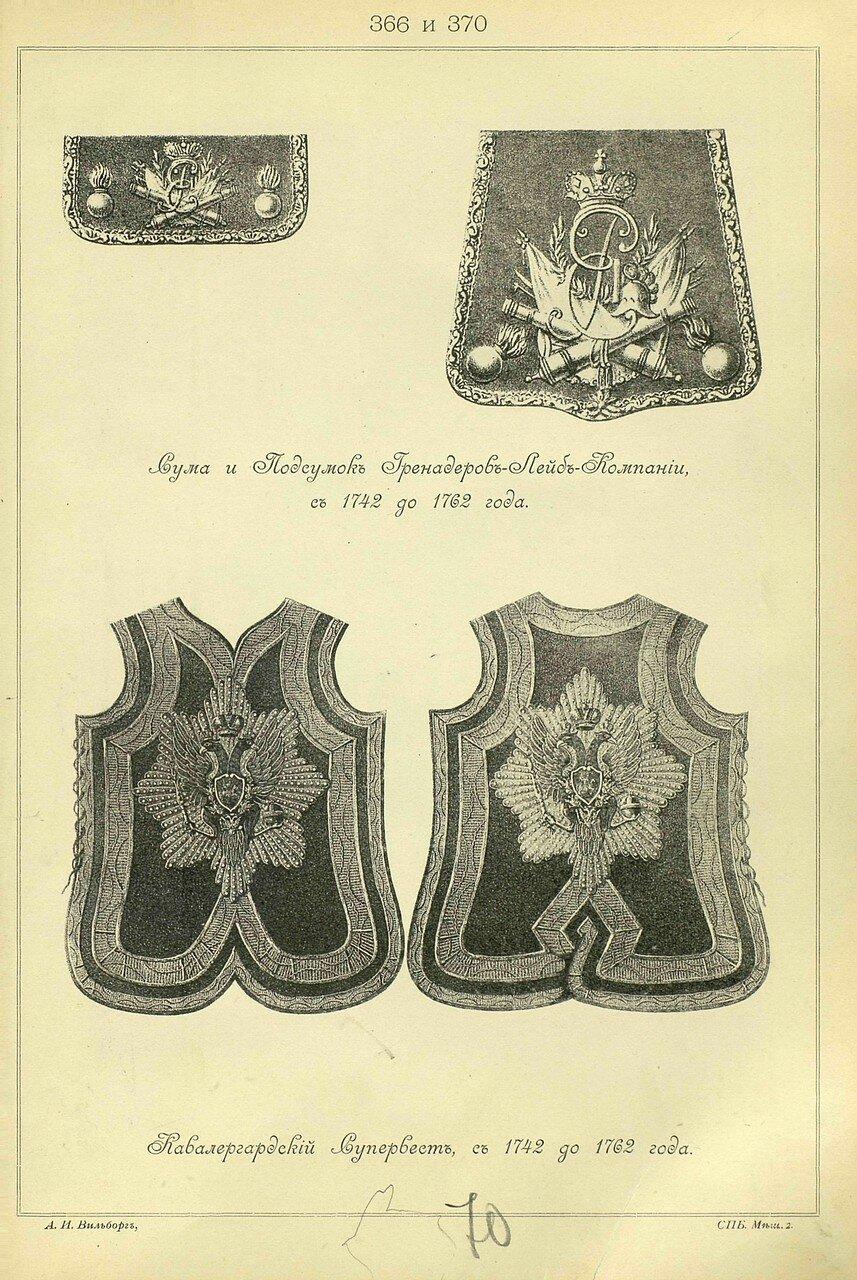 366 и 370. Сума и Подсумок Гренадеров Лейб-Компании, с 1742 до 1762 года. Кавалергардский Супервест, с 1742 до 1762 года.