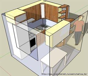 Секреты интерьера - перепланировка маленькой кухни