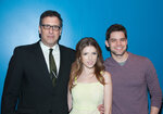 NEW YORK, NY - FEBRUARY 24: (L-R) Screenwriter/director Richard LaGravenese, Anna Kendrick and Jeremy Jordan attends the