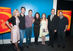 NEW YORK, NY - FEBRUARY 24: Jason Robert Brown, Lauren Versel, Richard LaGravenese, Jeremy Jordan, Georgia Stitt, Anna Kendrick, Kurt Deutsch attends the