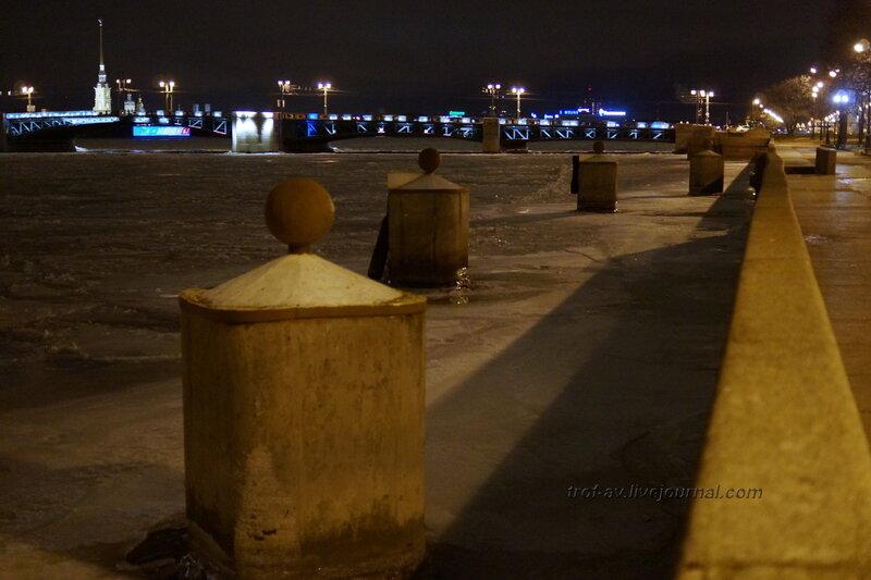 Нева и дворцовый мост (1912-1916гг), ночной Питер