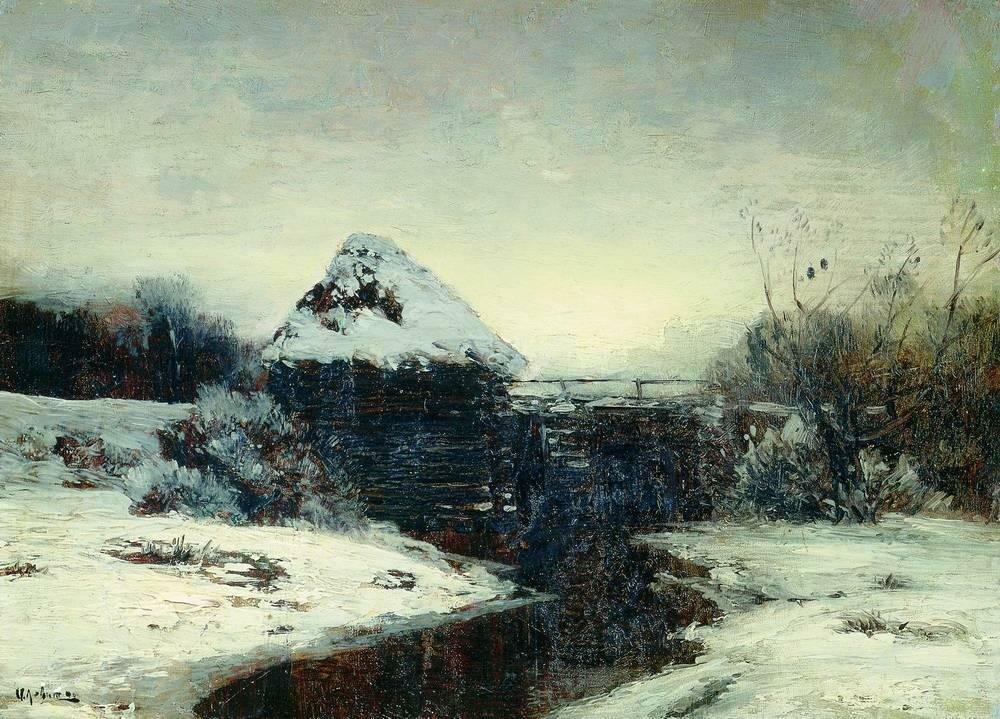 Зимний пейзаж с мельницей. 1884.jpg