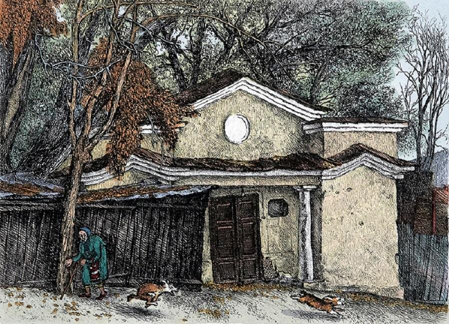 Podkopaevsky Pereulok. Autumn  Etching, watercolor. (16 x 22 cm).jpg