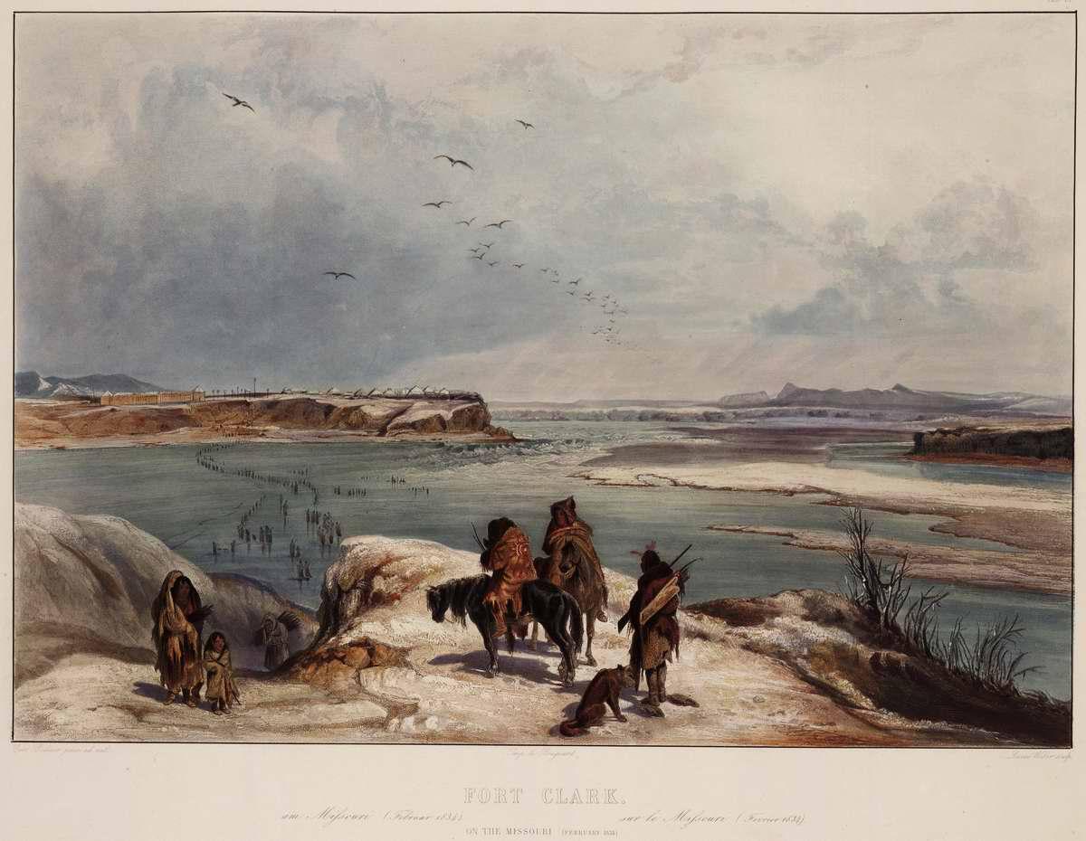 В окрестностях  Форта Кларк на реке Миссури - Karl Bodmer