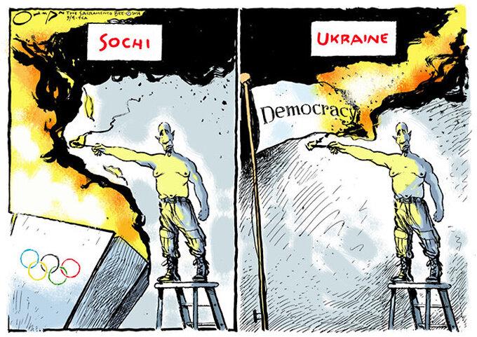 Sochi and Ukraine — The Sacramento Bee, March 4, 2014 © Jack Ohman