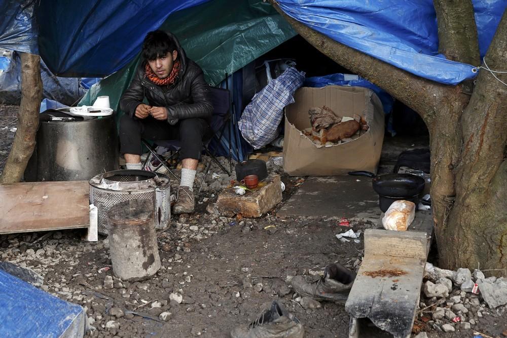 Палаточный городок беженцев во Франции