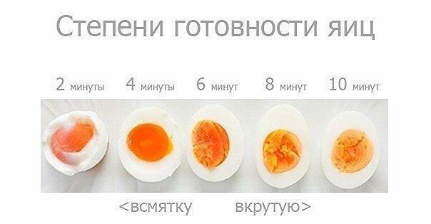 Степени готовности яиц при варке