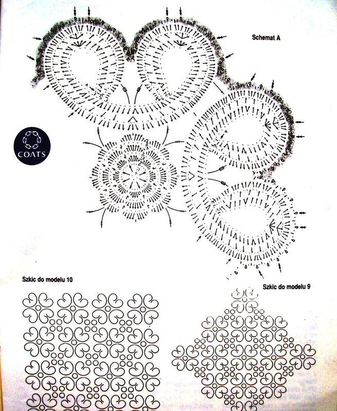 крючком схемы цветы брюггское кружево